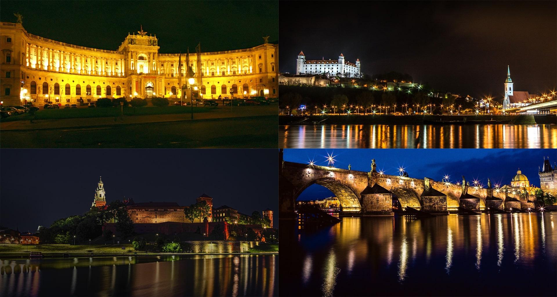 montagem de monumentos da Polónia, República Checa, Áustria e Eslovénia